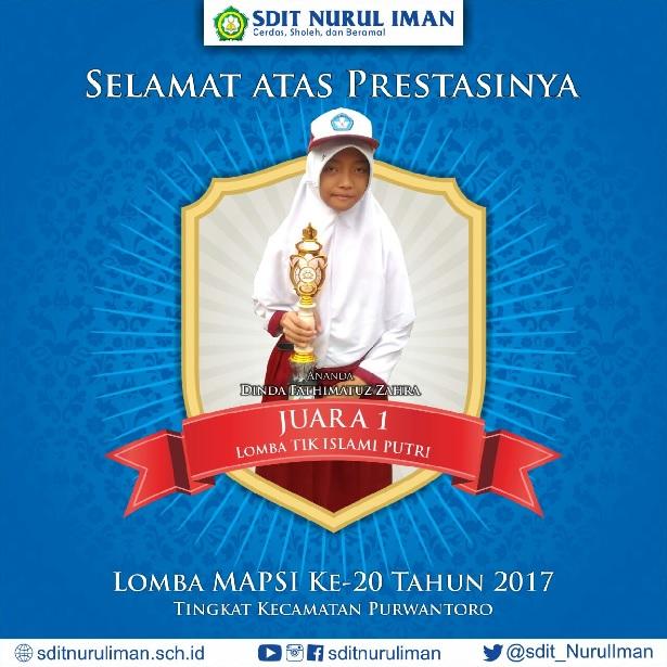 Juara 1 Lomba MAPSI XX Tingkat Kec. Purwantoro Cabang TIK Islami