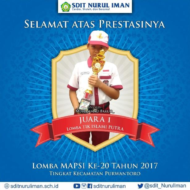 Juara 1 Lomba MAPSI XX Tingkat Kec. Purwantoro Cabang TIK Islami Putra