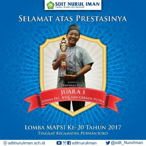 Juara 1 Lomba MAPSI XX Tingkat Kec. Purwantoro Cab. PAI,BTQ dan Gebsata Putra