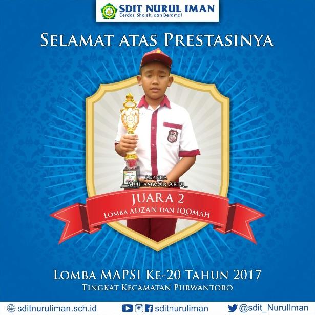 Juara 2 Lomba MAPSI XX Tingkat Kec. Purwantoro Cab. Azan dan Iqamah