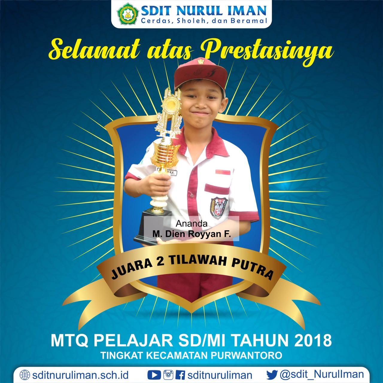Juara 2 Tilawah Putra MTQ Pelajar SD/MI Tingkat Kec. Purwantoro