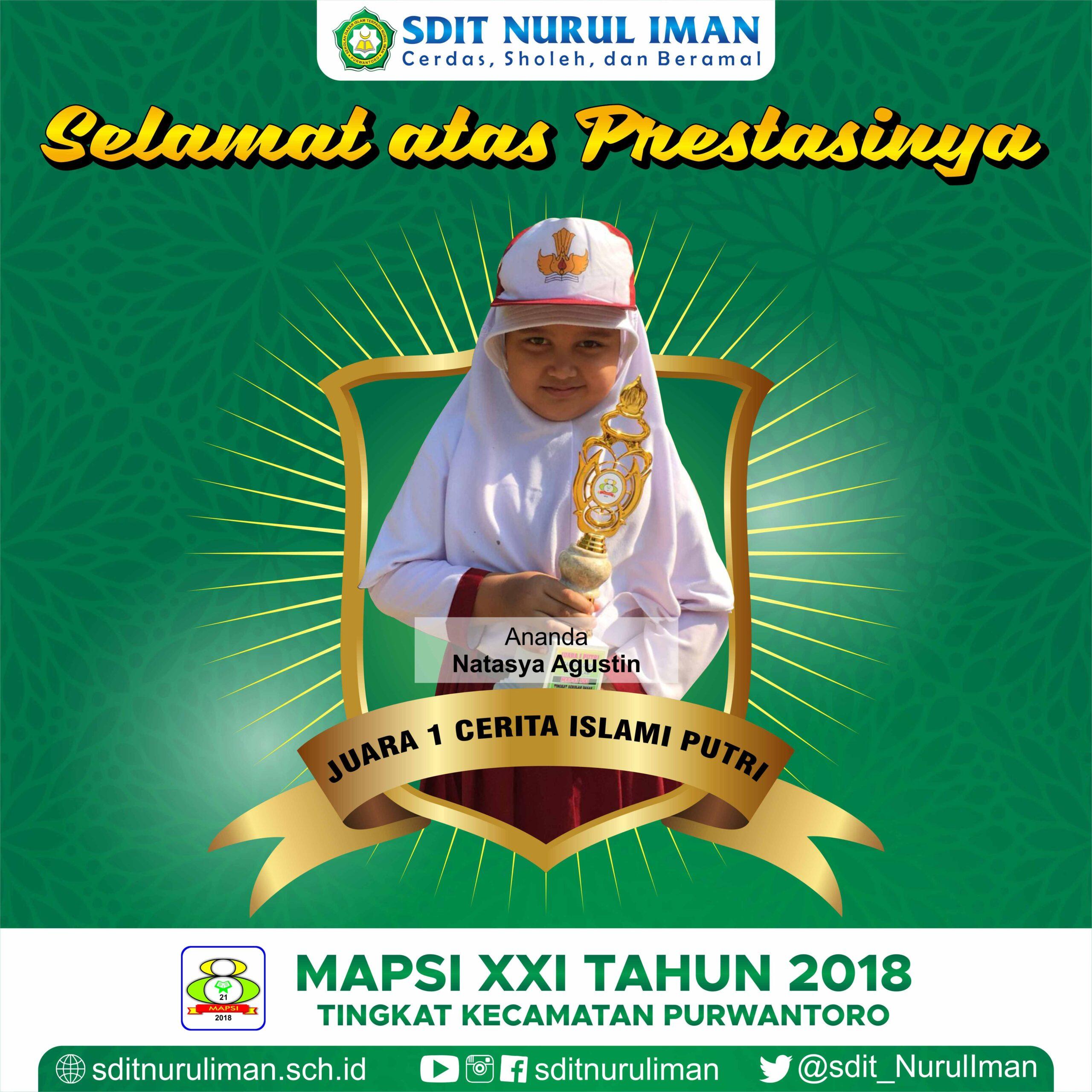 Juara 1 Cerita Islami Putri MAPSI XXI Tingkat Kecamatan Purwantoro