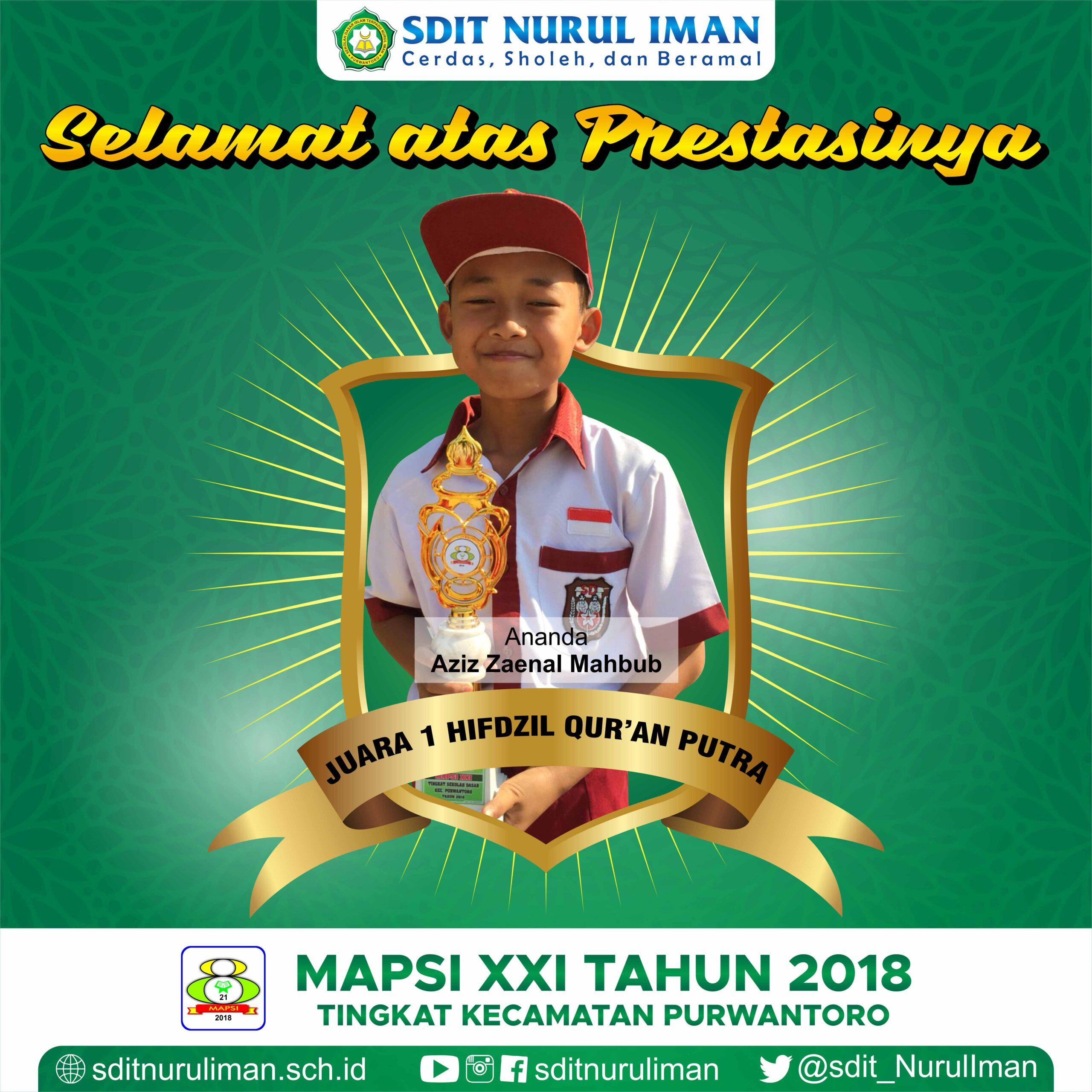 Juara 1 Hifdzil Quran Putra Lomba MAPSI XXI Tingkat Kecamatan Purwantoro
