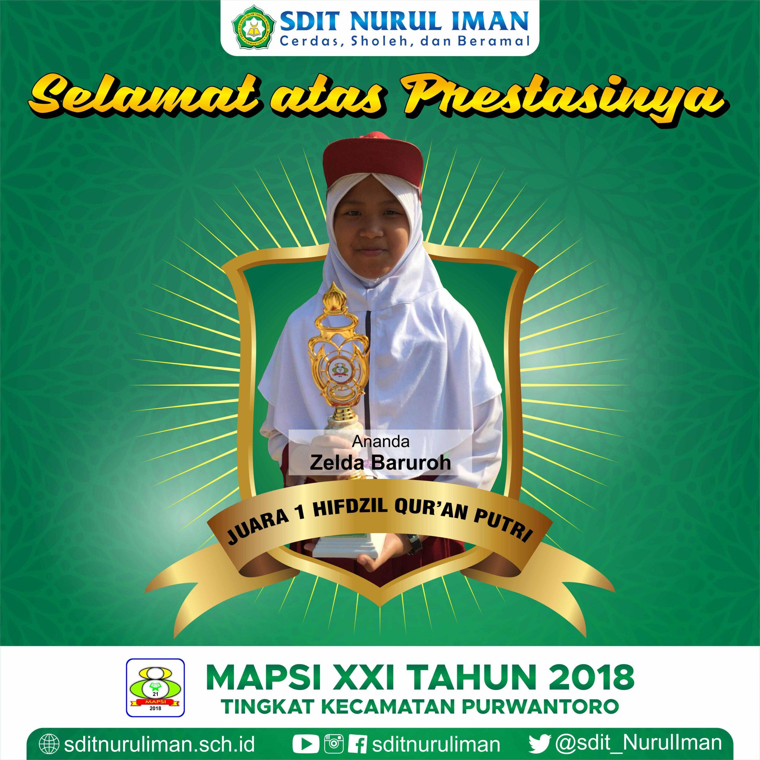 Juara 1 Hifdzil Quran Putri Lomba MAPSI XXI Tingkat Kecamatan Purwantoro