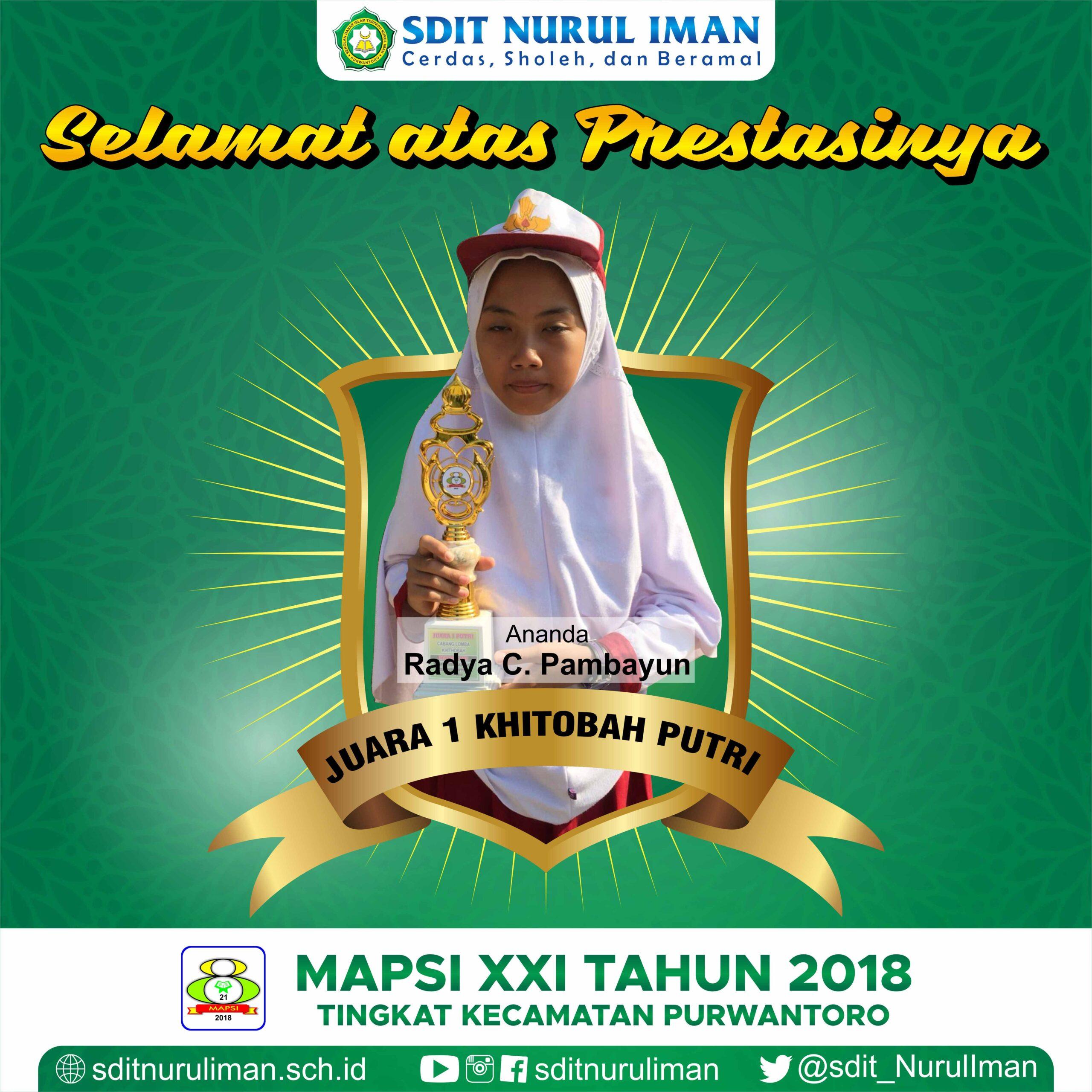 Juara 1 Khitobah Putri Lomba MAPSI XXI Tingkat Kecamatan Purwantoro