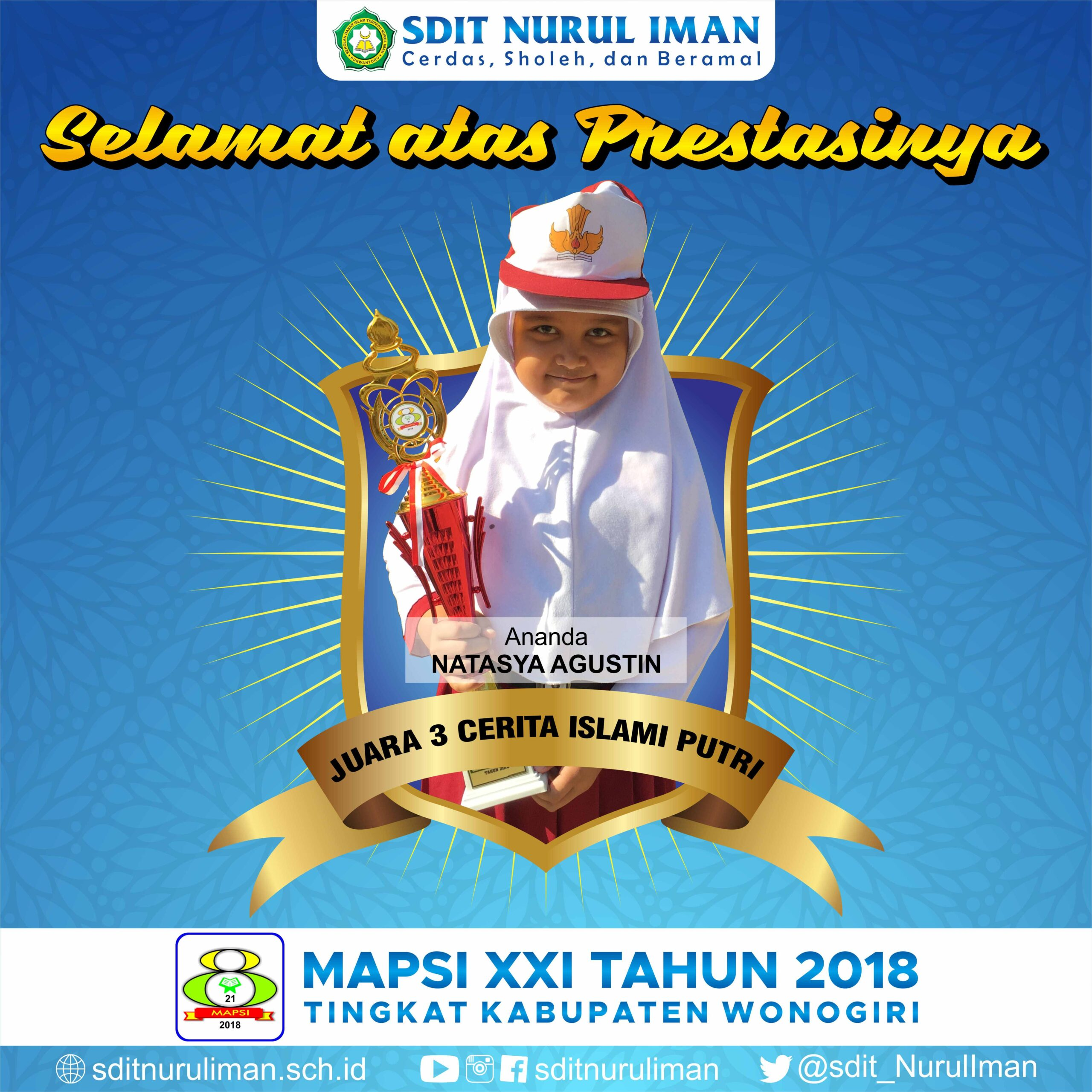Juara 3 Cerita Islami Putri Lomba MAPSI XXI Tingkat Kabupaten Wonogiri