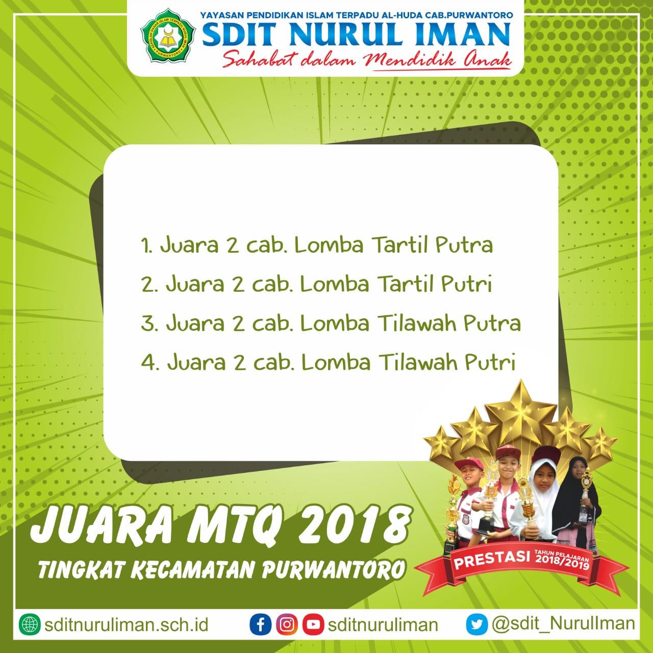Prestasi Lomba MTQ Pelajar SD/MI Tingkat Kecamatan Purwantoro