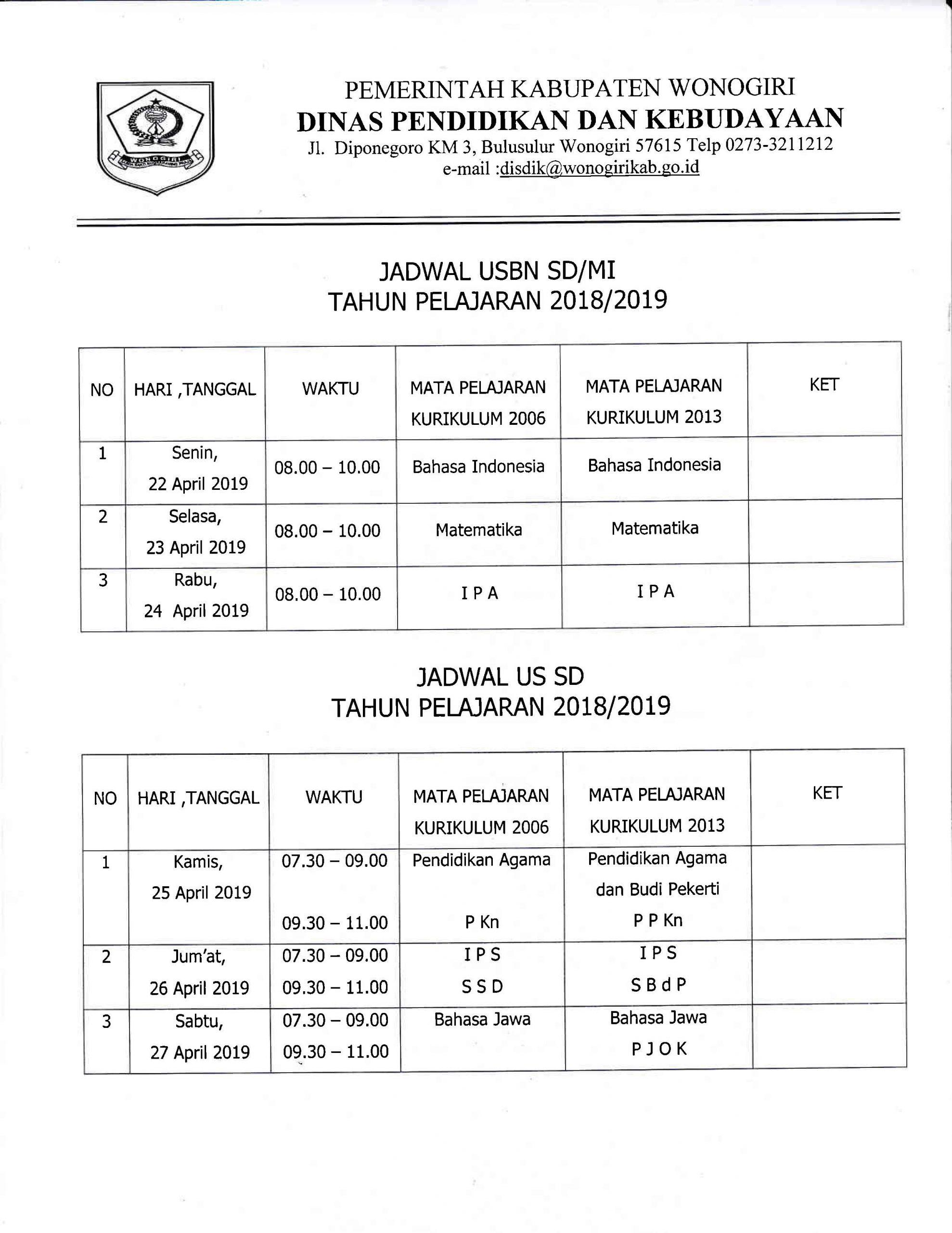 JADWAL USBN SD/MI  TAHUN PELAJARAN 2018/2019