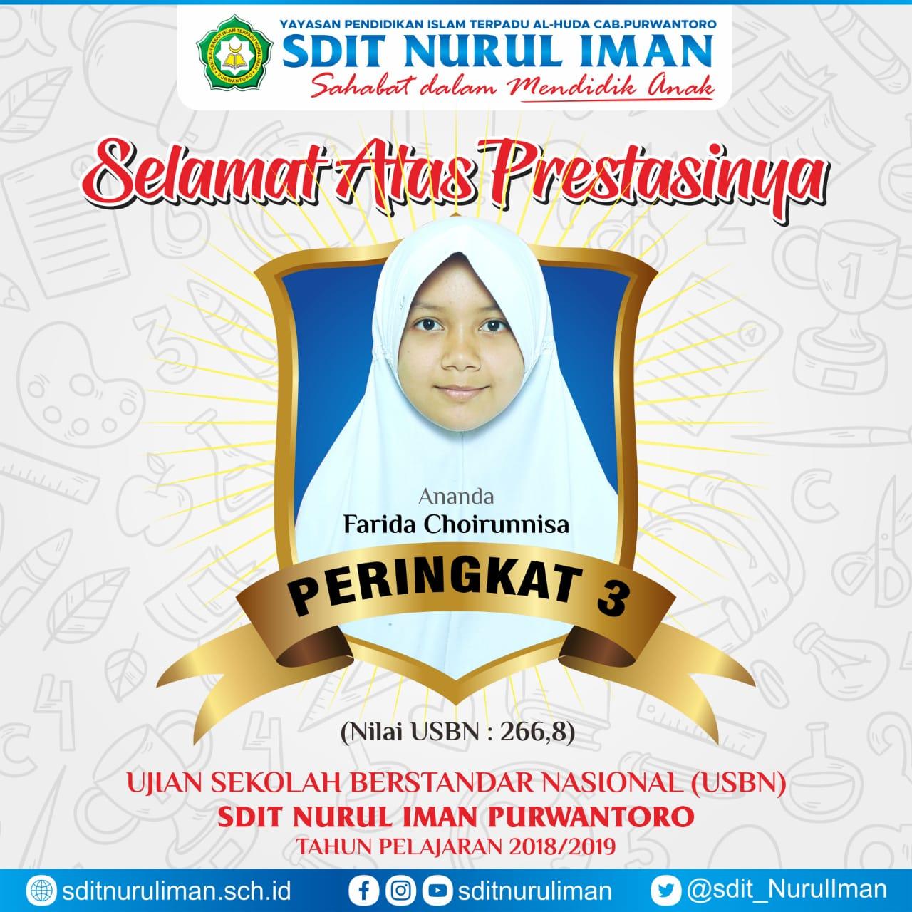 Peringkat 3 USBN SDIT Nurul Iman Purwantoro