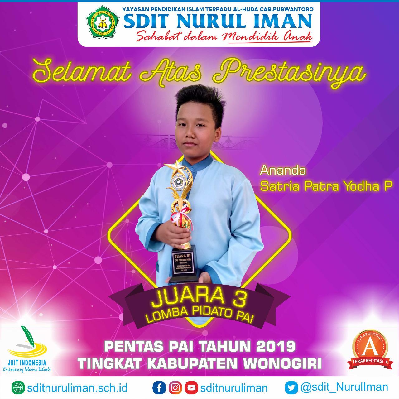 Juara 3 Pidato PAI SD Pentas PAI 2019 Tingkat Kab. Wonogiri