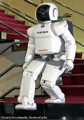 Robot Humanoid ASIMO Walks Down Stairs