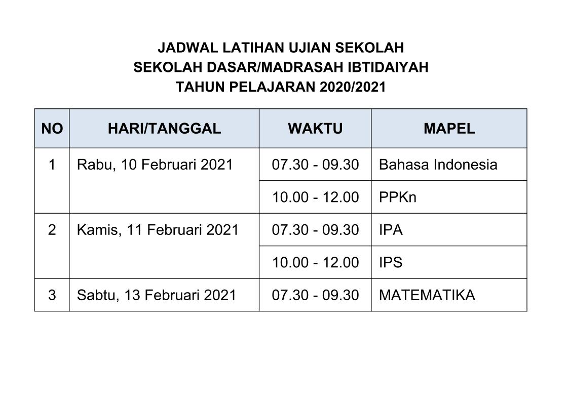 Jadwal Try Out USD KE-1